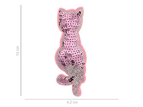 Patches zum Aufbügeln Aufnäher Patch Aufbügel-Patch Jacke Shirt Hose Patches-Set von ALSINO, Variante wählen:PAT-137 Katze Pailletten