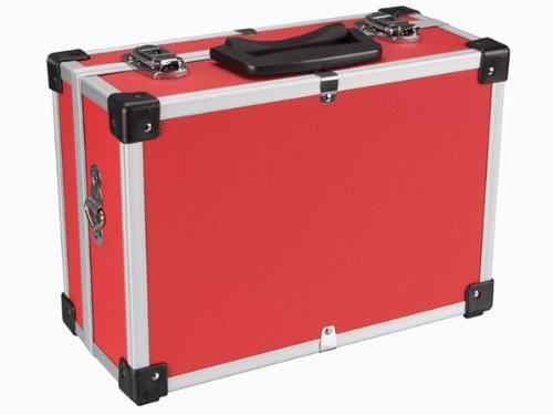 Perel 1821-R Aluminium Werkzeugkoffer, 330 mm x 230 mm x 150 mm Abmessungen, Rot