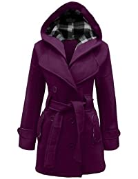 Amber Apparel Damen Militär mit Kapuze Trenchcoat mit Gürtel Fleecejacke  Damen-Mantel TOP Größen 8 ed12500c17