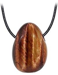 Kaltner präsente Unisex-collar con colgante de piedra piedrapreciosa tambor correa de piel roja ojo del tigre (30 mm)