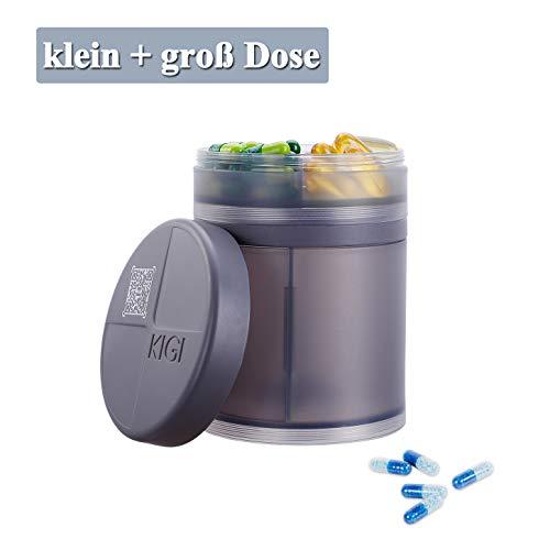 Tablettenbox für Reise, Pillendose Große Fächer, Medikamentenbox Morgens Mittags Abends Nachts, Pillenbox Rund, Tablettendose mit Erinnerungsfunktion