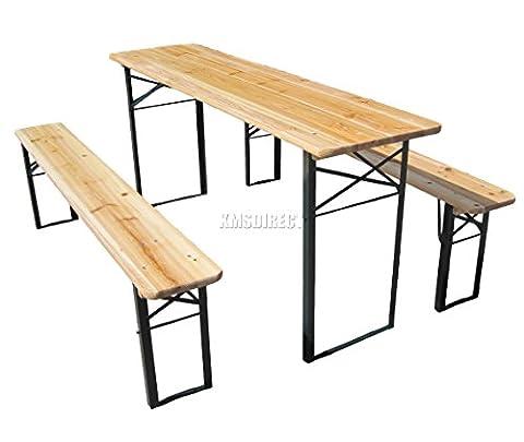 FoxHunter Outdoor Wood Wooden Vingtage Folding Beer Table Bench Set Trestle Party Picnic Pub Garden Furniture Steel Leg