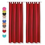 Bestlivings Dekoschal 2er Pack mit Schlaufen, Vorhang Gardine, Auswahl: 140 x 145 cm Rot - Salsa