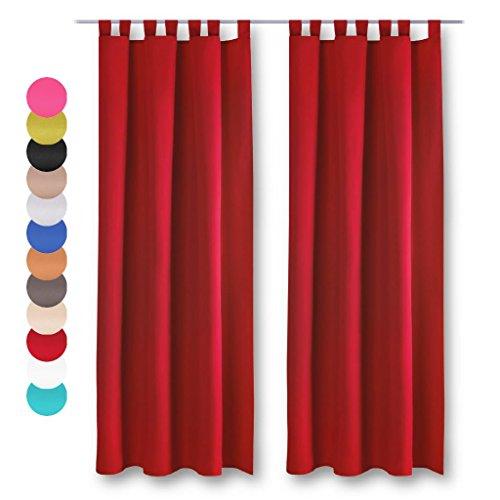 Dekoschal 2er Pack mit Schlaufen, Vorhang Gardine, Auswahl: 140 x 145 cm rot - salsa
