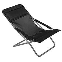 Lafuma Chaise longue, Pliable et réglable, Transabed, Batyline, Couleur: Black, LFM2863-8551