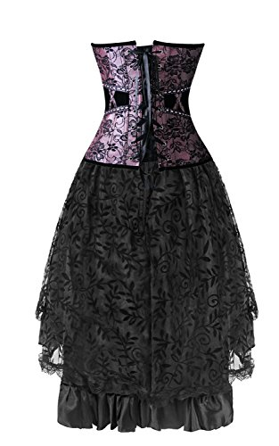 Kimring Women's 2 Pcs Vintage Gothic Victorian Brocade Overbust Corset Skirt Set Purple/Schwarz