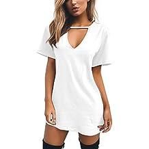 Damen Casual Sommerkleid Minikleid Lose V-Ausschnitt T Shirt Kleid  Strandkleid Blusenkleid Kurze Partykleid