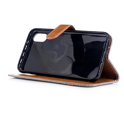 iphone X hülle, Voguecase Kunstleder Tasche PU Schutzhülle Tasche Leder Brieftasche Hülle Case Cover für Apple iphone X(Mischfarben Denim/Dunkelgrün) + Gratis Universal Eingabestift Mischfarben Denim/Grau
