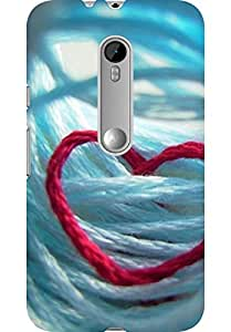 AMEZ designer printed 3d premium high quality back case cover for Moto G Turbo Edition (heart thread)
