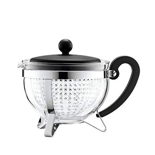 Bodum CHAMBORD Teekanne (Farbiger Plastikdeckel, Filter, Hitzebeständig, 1,0 liters) schwarz