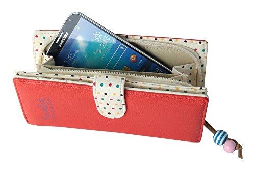 Minetome Damen PU-Leder Geldbörse Portemonnaie Reißverschluss Lange Geldbeutel Telefon Tasche Wassermelone Rot