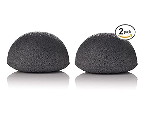 Bamboo Charcoal Konjac sponge- detoxifying, exfoliating beauty sponges 2 pack