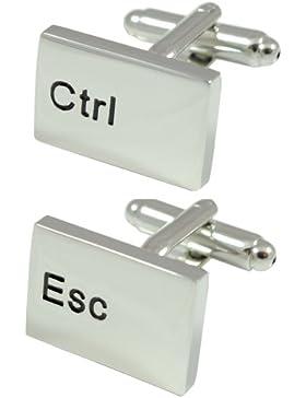COLLAR AND CUFFS LONDON - HOCHWERTIGE Manschettenknöpfe mit GESCHENK BOX - Ctrl Esc Computer-Tastatur - IT - Rechteck...