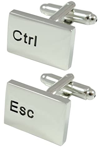 COLLAR AND CUFFS LONDON - Stylish PREMIUM High Quality Ctrl Esc Computer Keyboard Executive Cufflinks - Solid Brass - Rhodium Plated - Silver Colour - IT PC Key - Presentation Gift Box Included - Links Of London Gioielli