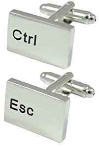 COLLAR AND CUFFS LONDON - PREMIUM High Quality Cufflinks WITH PRESENTATION GIFT BOX - Ctrl Esc Computer Keyboard - Solid Brass - Rhodium Plated - Silver Colour - IT PC Key