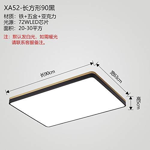Lámpara de luz rectangular para dormitorio rectangular negra [90 * 63 * 5] atenuación continua