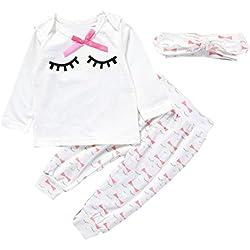 Vestidos niñas, Switchali Infantil Recién nacido Bebé Niña moda Pestaña manga larga bowknot Camisetas + Pantalones + Venda Conjuntos de Ropa para chica algodón blusas barato (70 (0~3meses))