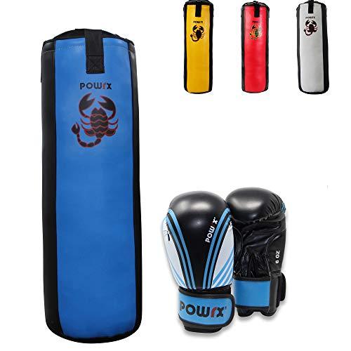 POWRX Boxset für Kinder Jugendliche I Boxsack + Boxhandschuhe I 2, 2,5 und 3 Fuß (2,5 Fuß (Blau/Schwarz))
