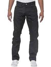 ENZO hommes délavé noir classique droit ajusté Jeans créateur Jeans pantalon