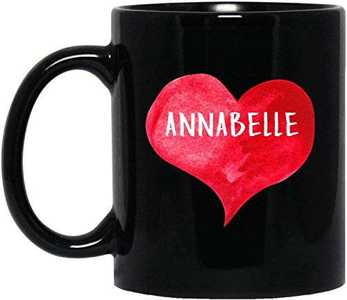 Annabelle Cup (Tea or Coffee Mug, Ceramic, I Love ANNABELLE Mug with Heart Shape, Personalized 11oz Coffee Mug, Custom Name, Gift for Him & Her, Wedding, Anniversary Present)