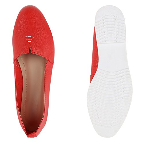 Damen Slipper Dandy Style Loafers Lack Profilsohle Schuhe Rot Glatt