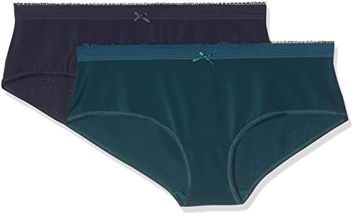 DIM, Pantaloncini Donna (Pacco da 2) Multicolore (Vert Multicolore Topaze/Bleu Minuit)