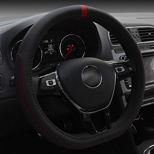 YUMUYMEY D-Art-Kunstleder-Lenkrad-Abdeckung für Volkswagen Golf Sagitar 38CM (Farbe : Red)