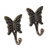 Antique Wall Door Mounted Butterfly Patterned Coat Hook Clothes Towel Hanger
