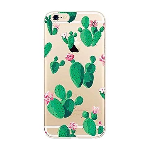 Coque Iphone 6/iPhone 6S (4.7) laixin Crystal Transparent Soft Ultra Fine en silicone TPU Case Cover Premium anti-griffures Painted Motif de fleur Noir et blanc points feuilles vertes