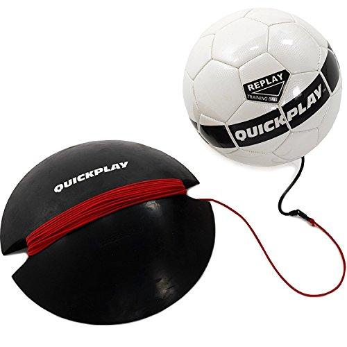 QUICKPLAY Replay Fußball-Trainingsball ußballgröße 4 Junior   Verstellbarer Bungee Elastic Trainingsball mit Basisgewicht - Der Ultimative Der ultimative Hände Frei Fußball-Trainer