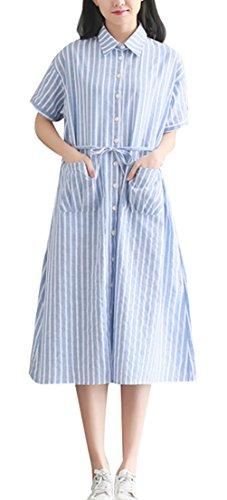 Blansdi Damen Sommerkleid Revers Kurzarm Hemdkleid Blusekleid Vintage Streifen Casual Lose T-Shirt-Kleid Party Cocktail Dress Eine Größe Blau