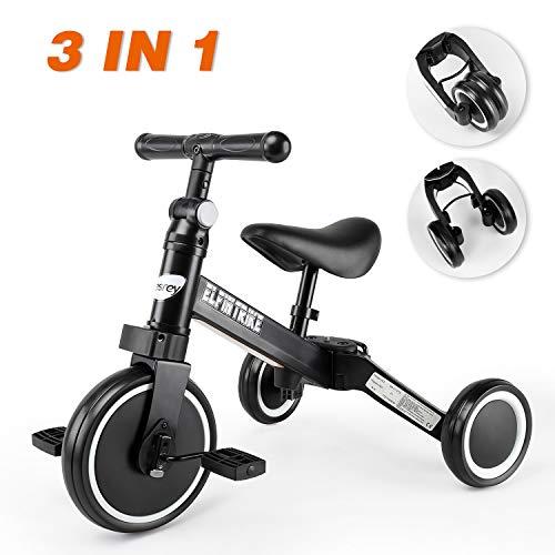 Tricilos para Niños, Besrey 3 en 1 Un bici polivalente, Triciclo & Bicicleta & Carro de equilibrio & Caminante, 2.8kg Ligero y portátil, Adecuado para niños de 1.5-4 años (Negro elegante)