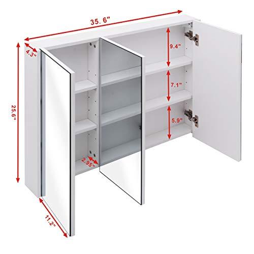 COSTWAY Spiegelschrank Badezimmer, Badezimmerspiegel mit verstellbaren Ablagen, Badezimmerspiegelschrank weiß, Wandschrank mit Spiegel, Hängeschrank