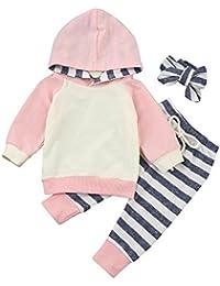 QUICKLYLY 3PCS Sudaderas Con Capucha Conjuntos Largo Manga + Rayas Pantalones +Diadema Elástica Turbante Para Bebé NiñA (0~24 Meses)