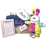 MabyBox Denim Dream | Canastilla bebé | Cesta de Regalo Recién Nacido Personalizada | Set regalo Recién Nacido (Rosa)