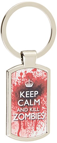 Keep Calm and Kill Zombies - metal keyring