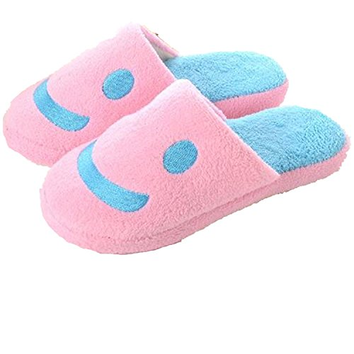 Viskey Smiley Keeping Warm Cotton Slippers for Woman,Pink,UK Size in 4-4.5
