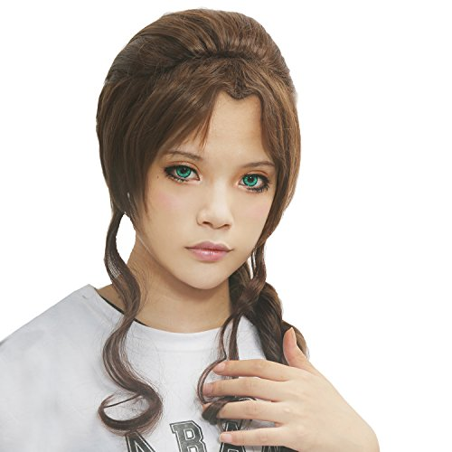 Xcoser Halloween Kostüme Dame Girls Game Cosplay Brown Dicken Zöpfen Perücke für (Fantasy Girl Kostüme Final)