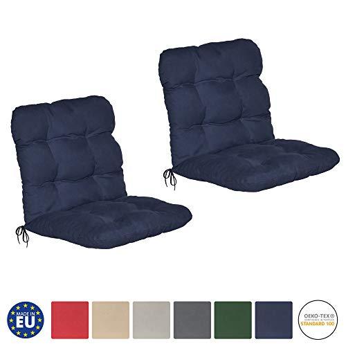 Beautissu set di 2 cuscini per sedie da giardino flair nl 100x50x8cm - comoda e soffice imbottitura - ideale anche per spiaggine - blu scuro