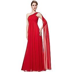 Ever-Pretty Vestidos Largos de Fiesta Noche de Gasa de un Hombro de Las Mujeres Vestidos sólidos 42 Rojo