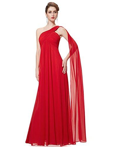 Ever-Pretty Robe de Soirée Robe de Demoiselle d'honneur Maxi Elegante Une Epaule sans Manche 36 Rouge