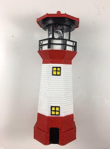Dekofigur Garten LED Solar Leuchtturm mit rotierendem Leuchtfeuer und Lichtsensor - sehr liebevoll detailliert gestaltet in rot weißem maritimem Look - 28 cm hoch