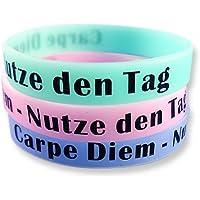 3er-Set Fitness Armband mit Sprüchen zur Auswahl - Silikonarmbänder in blau grün pink - Glow in the Dark Wristbands von EKNA