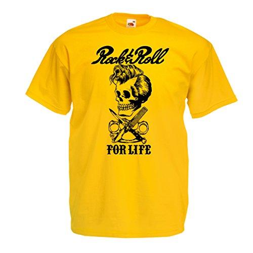 Camisetas Hombre Rock and Roll For Life - 1960s, 1970s, 1980s - Banda de Rock Vintage - Musicalmente - Vestimenta de Concierto (X-Large Amarillo