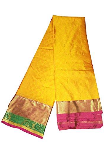 Sreenivasa Sarees Womens Pure Pattu Yellow and Pink Color Hand Woven Saree