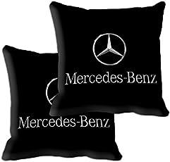 "meSleep Mercedes Car 2 Piece Microfibre Cushion Cover with Filler Set - 12""x12"", Black"