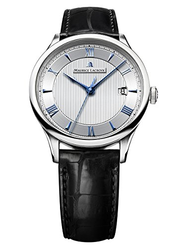Watch Maurice Lacroix mp6407-ss001 – 111 – 1 Mens Watch – Black Leather Strap with Silver Dial and Indices Blue Intense
