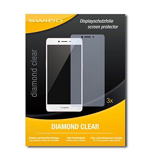 SWIDO 3 x Schutzfolie Oppo R7s Bildschirmschutz Folie DiamondClear unsichtbar