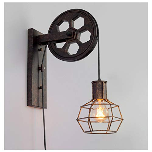 JXM Wandlampe Eisen Alt Rolle Heben Dachgeschoss Industriell Restaurant Bar Korridor Diamond Black (Keine Glühbirne)