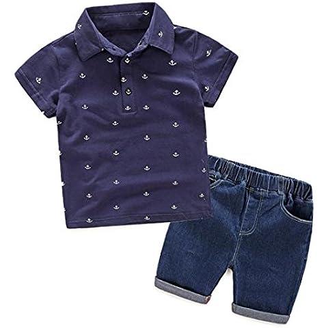 Kingko® i neonati riforniscono di stampa abiti t-shirt tops + pants cowboy pantaloncini 1 set bambini abbigliamento